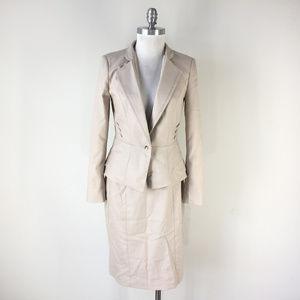 White House Black Market 4 6 8 Beige skirt suit